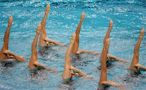 图文:花样游泳集体自选动作技术组 中国列首位