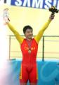 图文:场地自行车1000米计时赛 冯永庆祝胜利