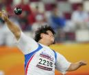 图文:亚运会女子铅球决赛 韩国选手发力瞬间
