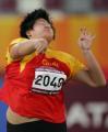 图文:亚运会女子铅球决赛 李玲在比赛中