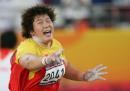 图文:亚运会女子铅球决赛 李梅菊在比赛中