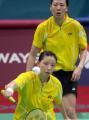 图文:亚运会羽毛球女双决赛 杨维全神贯注
