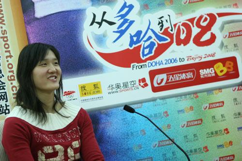 图文:亚运游泳冠军庞佳颍做客华奥-搜狐聊天 8