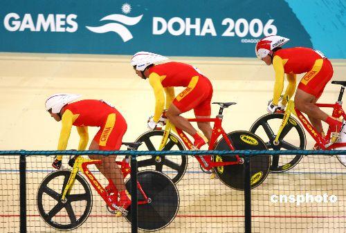 图文:亚运场地自行车男团争先赛 中国队获亚军