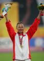图文:亚运会女子100米栏决赛 刘静庆祝胜利