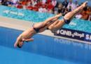 图文:亚运男子双人3米跳板 何冲王峰在比赛中