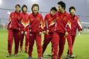 图文:中国女足为灭韩国挑灯夜练 队员士气高涨