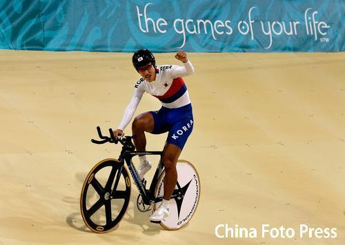 图文:自行车男子4公里团体追逐赛 韩国队夺冠