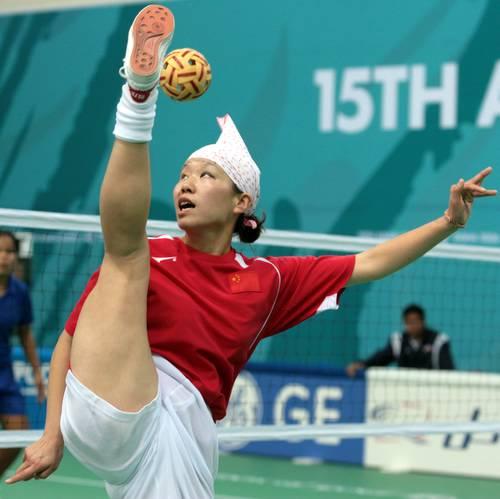 组图:亚运会女子藤球双人赛 中国队2-0菲律宾