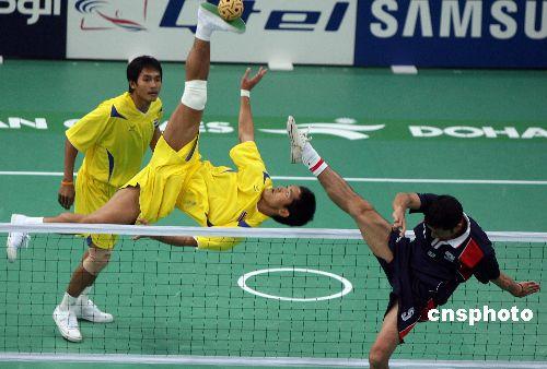 图文:亚运男子藤球双人赛 泰国队2比0胜印度