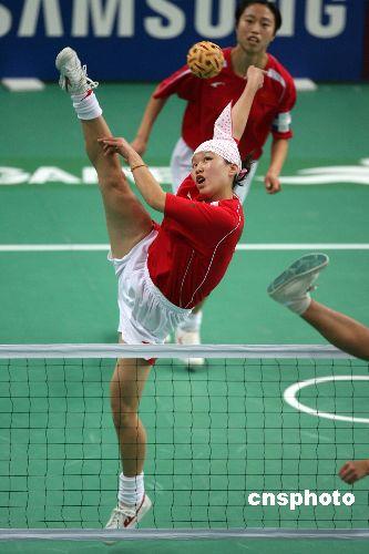图文:亚运女子藤球双人赛中国2比0轻取菲律宾