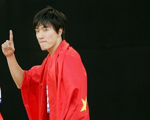 图文:绝对王者 男子110米栏刘翔13秒15夺金