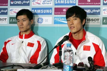 图文:多哈亚运会男子110米栏刘翔夺冠 赛后新闻发布会