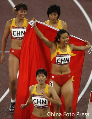 第三棒逆转超日本 中国队女子4×100米接力夺金