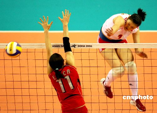 图文:亚运会中国女排战胜日本获冠军 激情排球