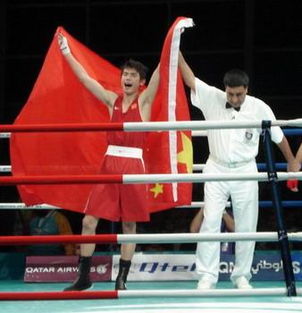 胡青击败蒙古强手 多哈亚运中国拳击队再添一金