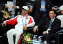 图文:亚运会男子拳击60公斤级 刘鹏到场观看