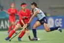 图文:中国女曲卫冕亚运冠军 双方的激烈拼争