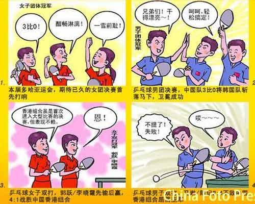 漫画:圆满谢幕--多哈亚运会之中国乒乓球队