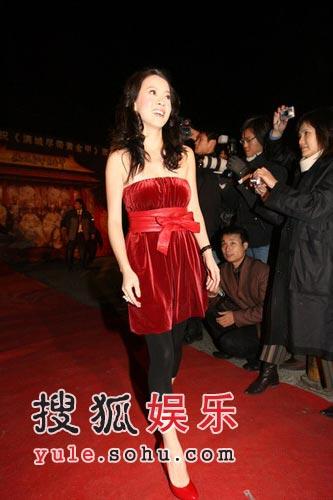 图:《黄金甲》首映 曾宝仪红礼服突显女人味