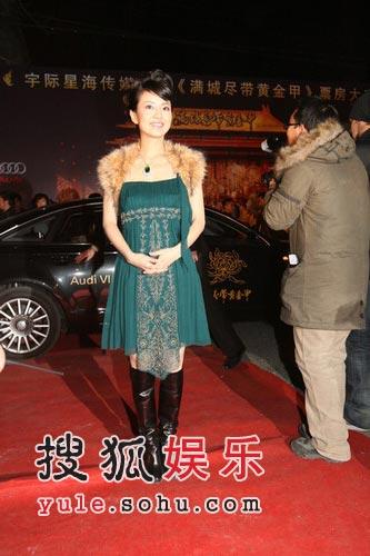 图:《黄金甲》首映礼 主持人经纬走过红地毯