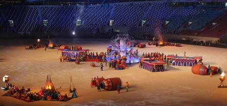 独家图片:亚运闭幕式彩排 阿里巴巴和四十大盗