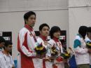 图文:国象团体赛中国夺银牌 中国队在领奖台上