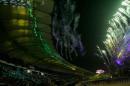 图文:多哈亚运会闭幕式 焰火表演照亮夜空