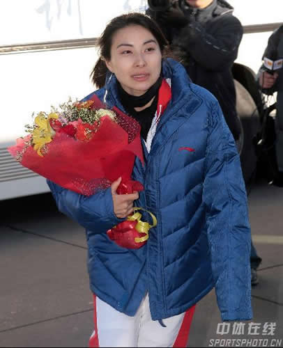 图文:中国亚运会代表团抵京 郭晶晶载誉归来
