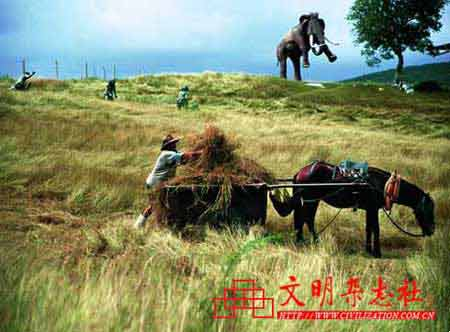 原始人、农民在史前公园里和平相处.-传话游戏 文化的全球化 差异