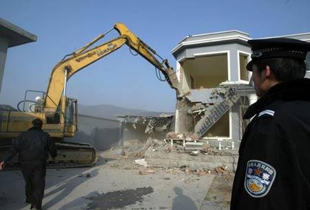 北京八大处一违章别墅被强拆 建设费200多万(组图)