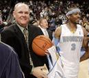 NBA图:掘金胜超音速 艾弗森与卡尔喜笑颜开