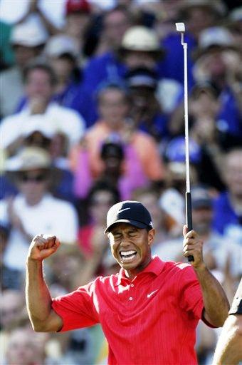 图文:2006高尔夫经典瞬间 伍兹狂欢称王PGA