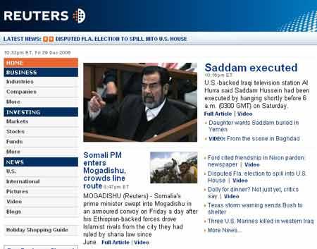 世界媒体关注萨达姆被判绞刑
