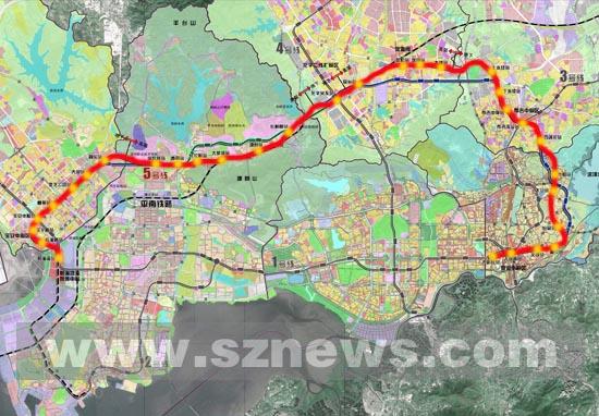 地铁5号线规划线路图-深地铁5号线线站位置作出重大调整 设31站