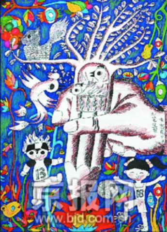 """2006全国中小学生""""绿色梦想彩绘奥运""""绘画比赛获奖作品《妙笔生梦》图片"""