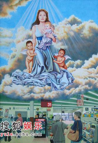茱莉成美国画家笔下题材 化身圣母抱女升天(图)