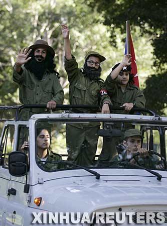 组图:古巴儿童扮卡斯特罗纪念革命胜利48周年