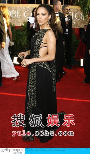 图:金球女星名牌靓裙斗艳—洛佩兹穿Marchesa