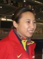 图文:短道比赛在即中国队热身 李琰灿烂笑容