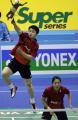 图文:韩国羽毛球公开赛 郑波/高崚在比赛中