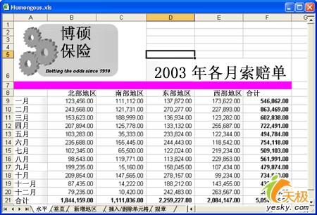 垂直定向的月份总计工作表