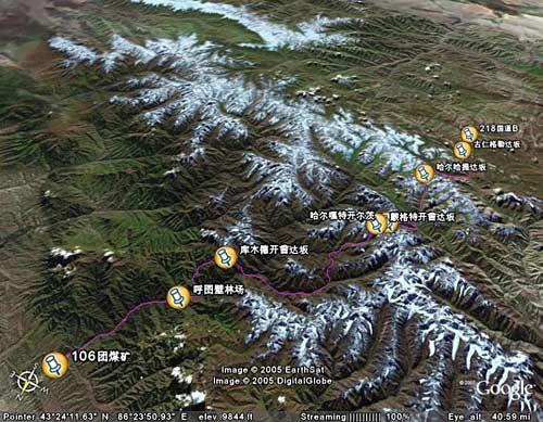 狼塔之路四条线路谷歌地图