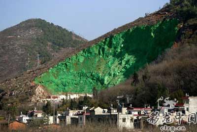 云南富民林业局用油漆涂绿荒山(图)