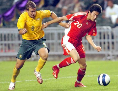 图文:贺岁杯中国国奥2-0澳大利亚 于海突破