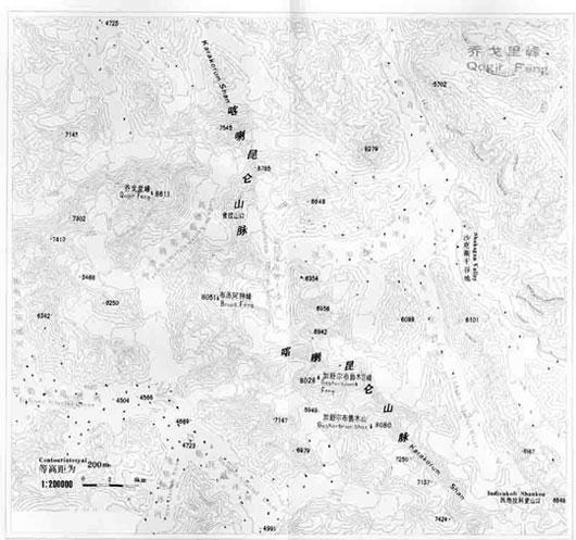 乔戈里地形等高线图