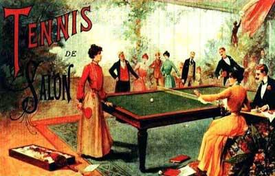 然后用雪茄烟盒和酒瓶子当球拍,在桌子上互相打球玩.很快,受到网