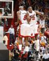 NBA图:热火胜骑士  波西庆祝进球
