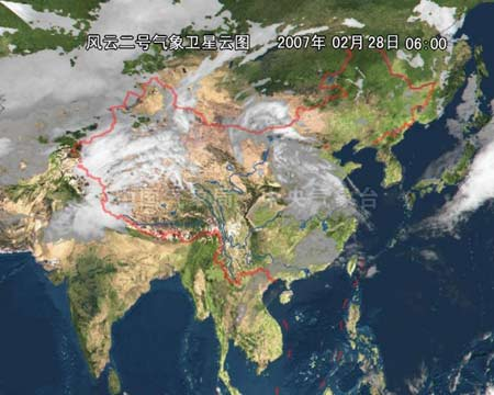 中国气象局卫星云图:有明显风云在新疆上部-新疆旅客列车今晨遇沙图片