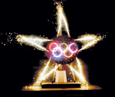2008奥运焰火南京试演 一弹打出奥运五环(图)